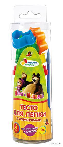 """Тесто для лепки """"Маша и Медведь"""" (3 цвета; с формочками)"""