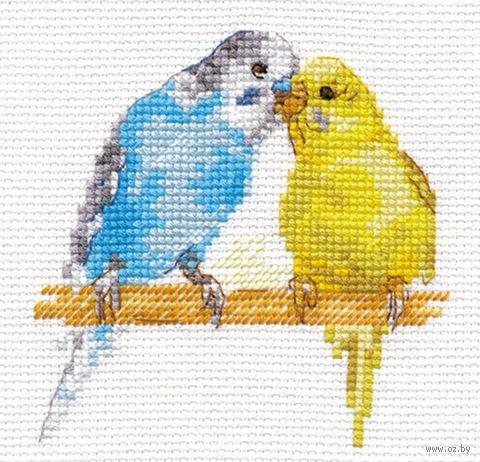 """Вышивка крестом """"Попугайчики"""" — фото, картинка"""