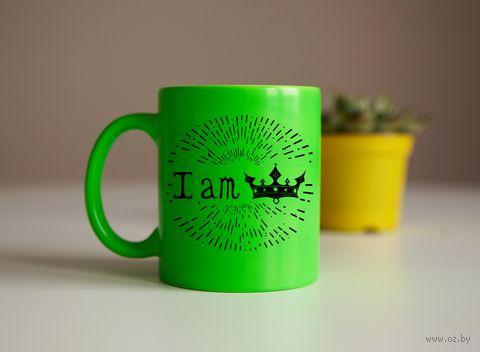 """Кружка """"I am"""" (салатовый) — фото, картинка"""