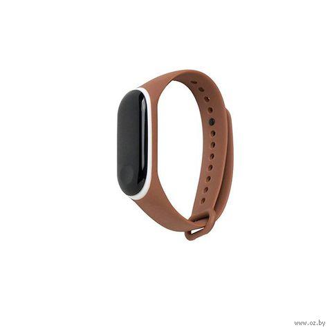 Ремешок для Xiaomi Mi Band 3 и Mi Band 4 (коричневый с белым) — фото, картинка