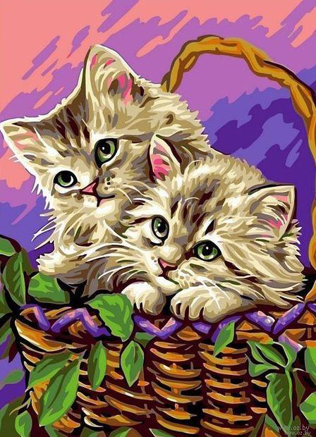 """Картина по номерам """"Котята в лукошке"""" (300х400 мм) — фото, картинка"""