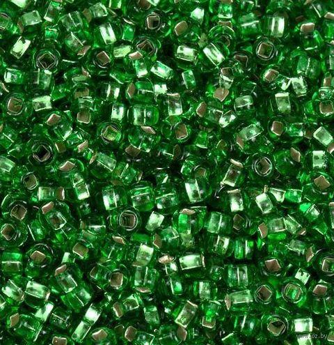 Бисер прозрачный с серебристым центром №57100 (зеленый; 10/0) — фото, картинка