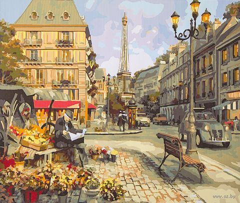"""Картина по номерам """"Цветочная лавка Парижа"""" (400х500 мм; арт. PC4050127)"""