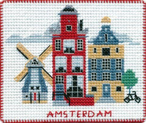 "Вышивка крестом ""Амстердам"" (90х80 мм; на магните) — фото, картинка"
