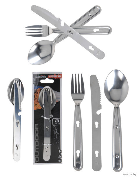 Набор столовых приборов металлических туристических (3 предмета)