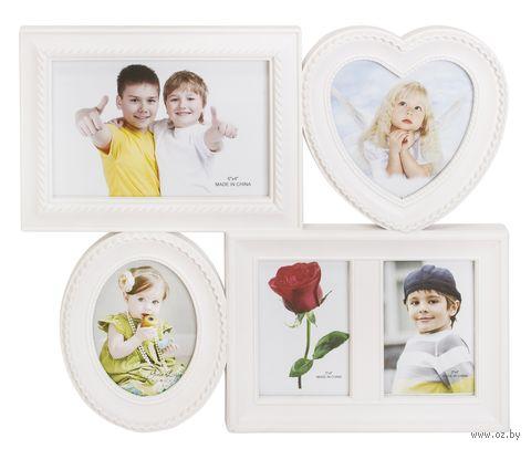 Рамка пластмассовая на 5 фото (8х6 см, 9х9 см, 10х15 см) — фото, картинка