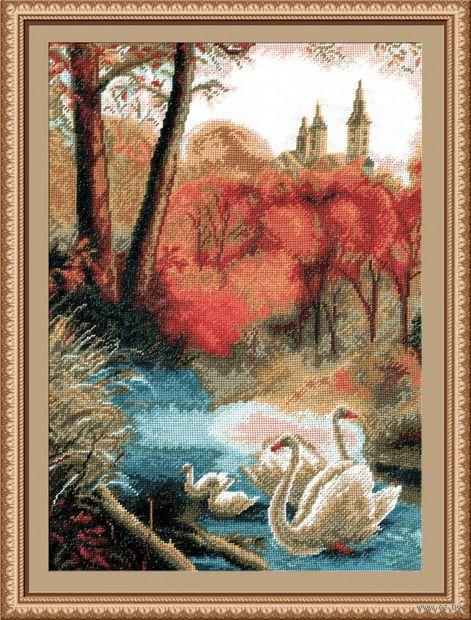 """Вышивка крестом """"Пейзаж с лебедями"""""""