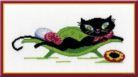"""Вышивка крестом """"Кошечка на диване"""""""