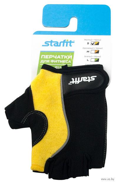 Перчатки для фитнеса SU-108 (S; жёлтые/чёрные) — фото, картинка