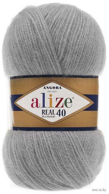 "Пряжа ""ALIZE. Angora Real 40 №21"" (100 г; 480 м; серый) — фото, картинка"