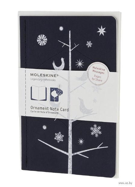 """Набор для письма Молескин """"Ornament Card Birds"""" (большой; мягкая синяя обложка)"""
