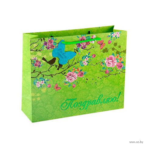 """Пакет бумажный подарочный """"Цветы"""" (15х12х10 см; арт. 10570471)"""