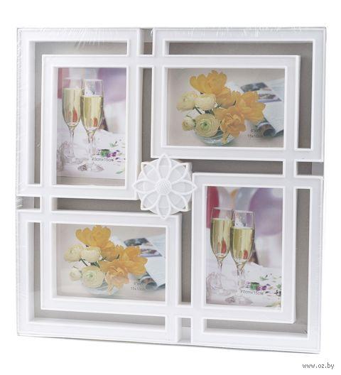 Рамка пластмассовая на 4 фото (4х6 см, 10х15 см; арт. 11031551) — фото, картинка