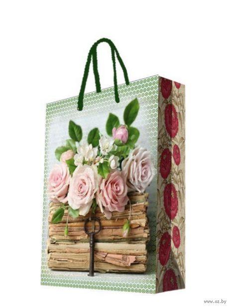 """Пакет бумажный подарочный """"Книги и розы"""" (26х32,4х12,7 см; арт. 44197) — фото, картинка"""