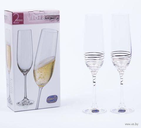 """Бокал для шампанского стеклянный """"Viola"""" (2 шт.; 190 мл; арт. 40729/M8434/190-2) — фото, картинка"""