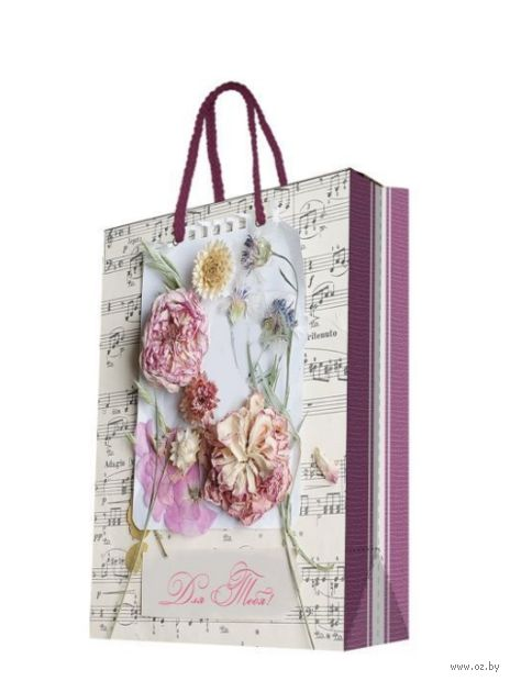 """Пакет бумажный подарочный """"Ноты и цветы"""" (26х32,4х12,7 см; арт. 44198) — фото, картинка"""