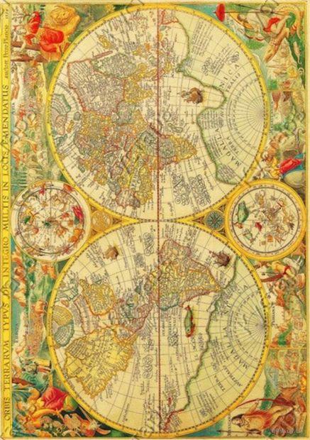 """Бумага для декупажа рисовая """"Старинная карта мира"""" (21х30 см; арт. AM400014) — фото, картинка"""