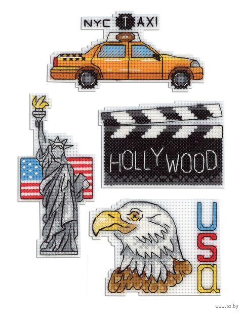 "Вышивка крестом ""США"" (50х100 мм; на магните) — фото, картинка"