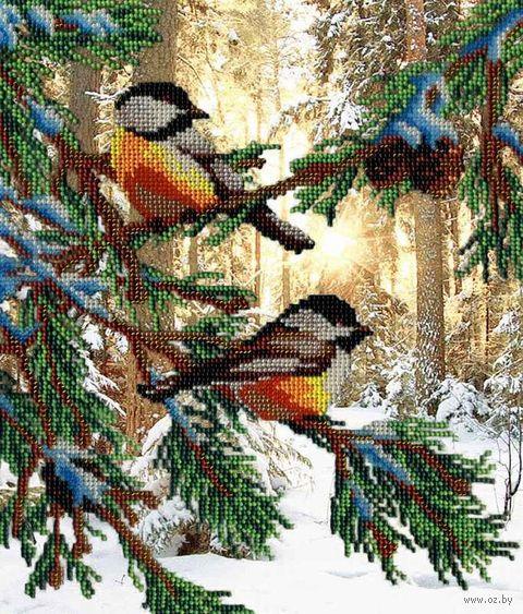 "Вышивка бисером ""Птичка в лесу"" (280х230 мм) — фото, картинка"
