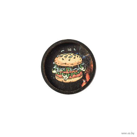 "Значок деревянный ""Космический бургер"" — фото, картинка"