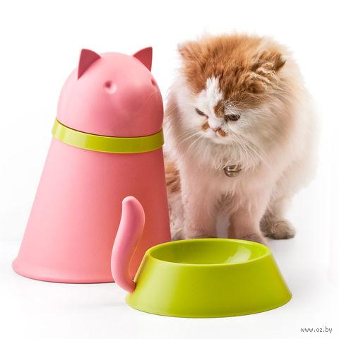 "Контейнер и миска для кошки ""Kitt"" (розовая)"