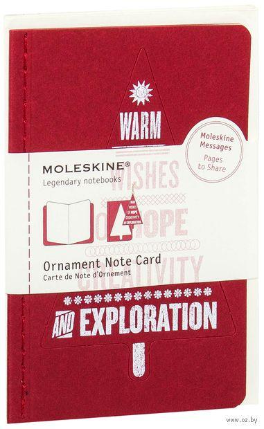 "Набор для письма Молескин ""Ornament Card Tree"" (карманный; мягкая красаная обложка)"