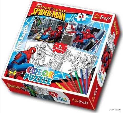 """Пазл-раскраска """"Человек-паук и его враги"""" (48 элементов + фломастеры)"""