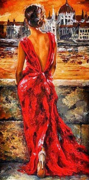 """Алмазная вышивка-мозаика """"Девушка в вечернем платье"""" (400х800 мм) — фото, картинка"""