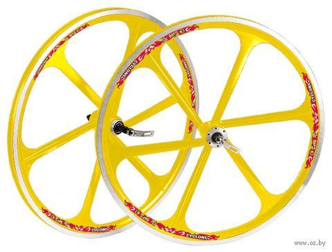 "Комплект велосипедных колёс ""TAFD/THREAD DISK-6000"" (жёлтый) — фото, картинка"