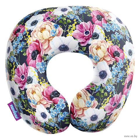 """Подушка под шею """"Оттенки весны. Мелкий принт"""" (29х29 см; синяя) — фото, картинка"""