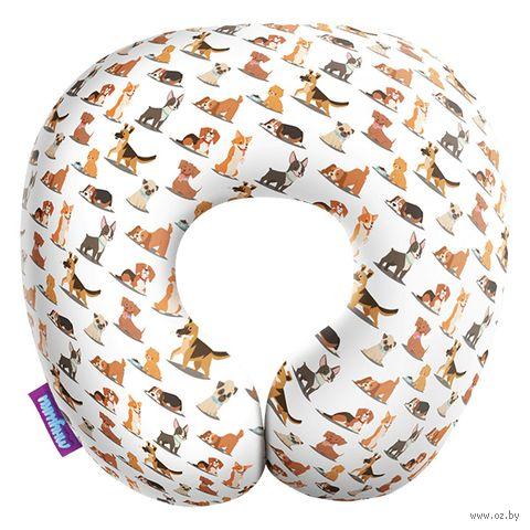 "Подушка под шею ""Собачий вальс"" (34х34 см; белая) — фото, картинка"