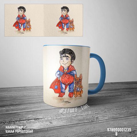 "Кружка ""Супермэн"" (голубая; арт. 1235) — фото, картинка"