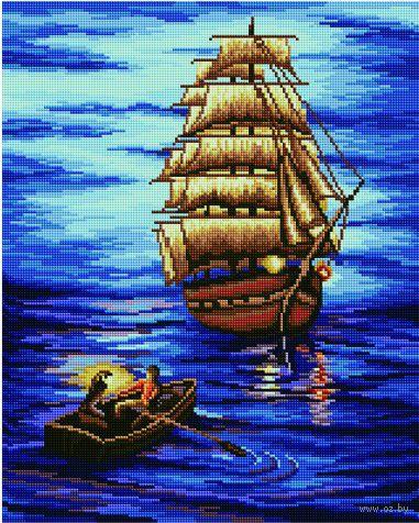"""Алмазная вышивка-мозаика """"Огни ночного моря"""" (400х500 мм) — фото, картинка"""
