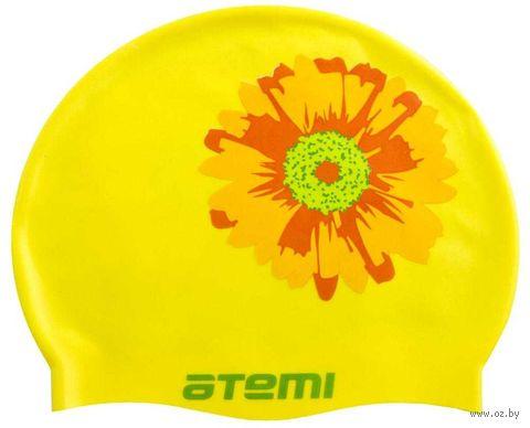 Шапочка для плавания (жёлтая; цветок; арт. PSC415) — фото, картинка