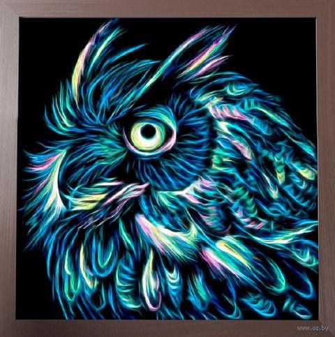 """Алмазная вышивка-мозаика """"Неоновый филин"""" (250х250 мм) — фото, картинка"""