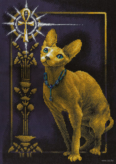 """Вышивка крестом """"Египетская кошка"""" (230х350 мм) — фото, картинка"""