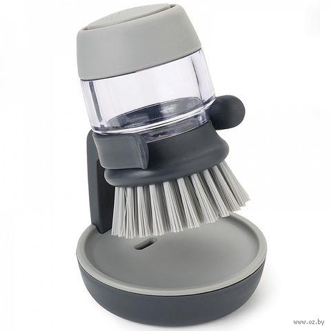 """Щетка для мытья посуды с дозатором моющего средства """"Palm Scrub"""" (серая)"""