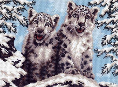 """Канва с нанесенным рисунком """"Снежные барсы"""""""