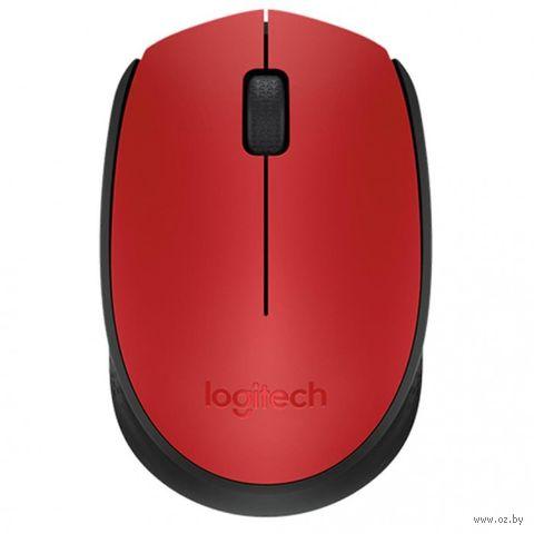 Беспроводная мышь Logitech Mouse M171 (черно-красная) — фото, картинка