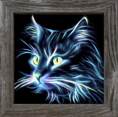"""Алмазная вышивка-мозаика """"Неоновый кот"""" (250х250 мм) — фото, картинка"""