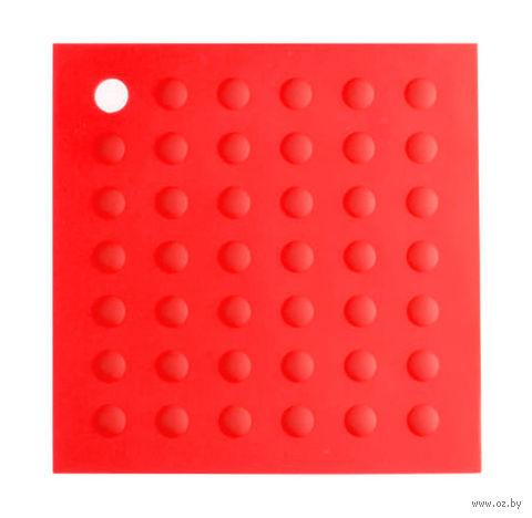 Подставка под горячее силиконовая (175x175 мм; красная) — фото, картинка