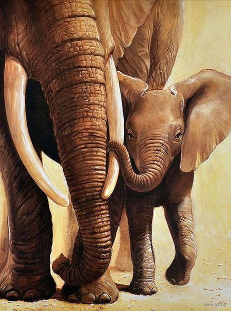"""Алмазная вышивка-мозаика """"Слоненок с мамой"""" (300x400 мм) — фото, картинка"""