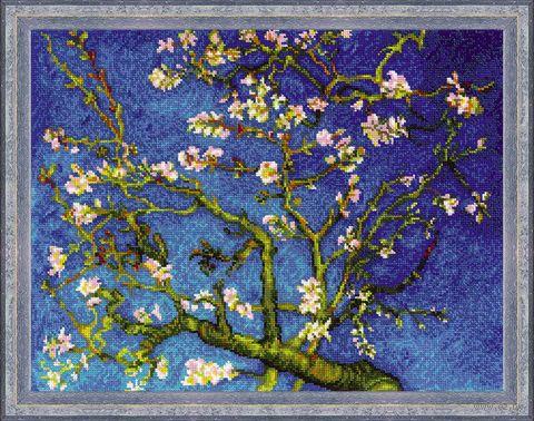 """Вышивка крестом """"Цветущий миндаль Ван Гога"""" (400х300 мм) — фото, картинка"""
