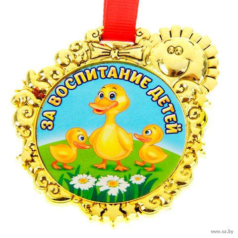 """Медаль пластмассовая """"За воспитание детей"""" (6,5х7 см) — фото, картинка"""