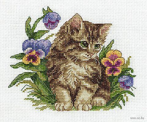 """Вышивка крестом """"Котенок в фиалках"""" (170х150 мм) — фото, картинка"""