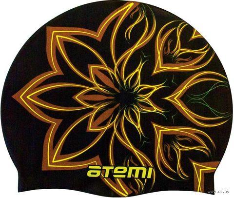 Шапочка для плавания (чёрная; огненный цветок; арт. PSC418) — фото, картинка