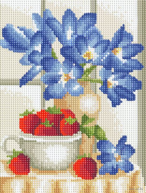 """Алмазная вышивка-мозаика """"Натюрморт с клубникой"""" (250х190 мм) — фото, картинка"""