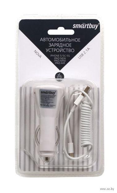 Автомобильное зарядное устройство SmartBuy NOVA, 2.1А, кабель для iPhone 5/iPad Mini/New iPad (SBP-1110)