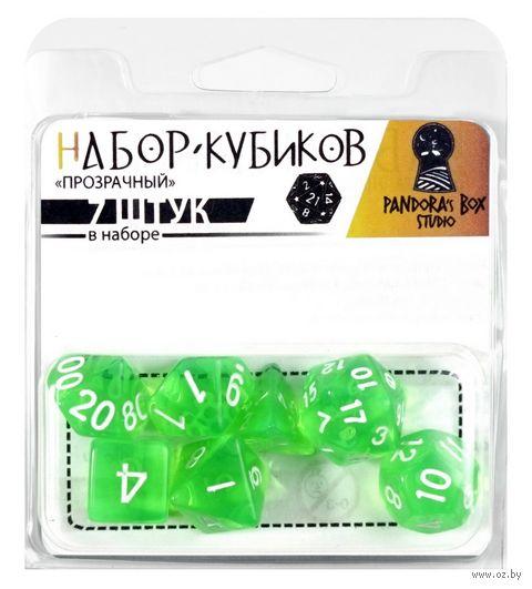 """Набор кубиков """"Прозрачный"""" (7 шт.; зелёный) — фото, картинка"""