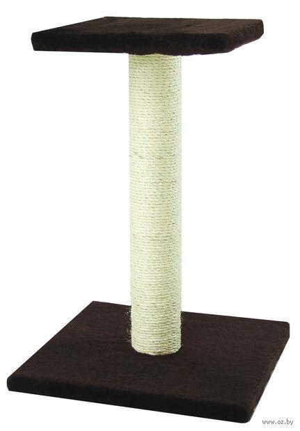 "Когтеточка ""Столбик с полкой"" (40х41х64 см; темно-коричневая) — фото, картинка"